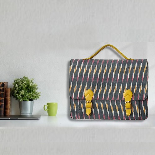 Ikat Laptop Bag Double Buckle Unisex - Yellow