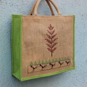 Jute Bag Warli Handpainted Green Tree