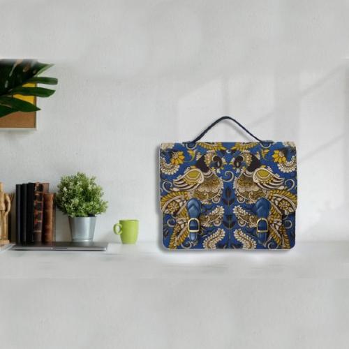 Kalamkari Laptop Bag Double Buckle Unisex - Blue & Yellow