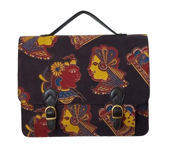 Kalamkari Laptop Bag Double Buckle Unisex - Dark Maroon