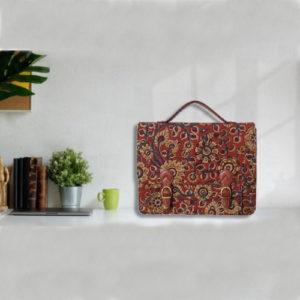 Kalamkari Laptop Bag Double Buckle Unisex - Maroon