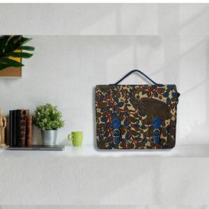 Kalamkari Laptop Bag Double Buckle Unisex -Olive Green